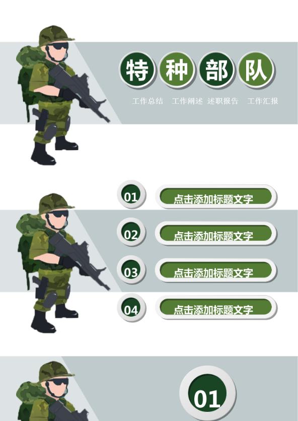 迷彩军绿八一军队特种部队武警PPT模板
